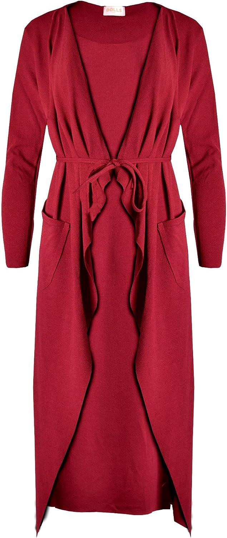 zymalmaya Womens Ladies Maxi Long Sleeve Waterfall Belted Duster Coat//Jacket