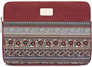 13.3 Inch Laptop Sleeve 13 Inch Bohemian Canvas Protective Notebook Bag Computer Case Cover for MacBook Pro MacBook Air Chromebook Acer Dell HP Samsung Sony (Horizontal, Red)