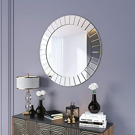 Kohros Modern Beveled Wall Mirror Large Grecian Venetian Decorative Mirrors For Bedroom Living Room Hotel Home 31 5 Round Home Kitchen