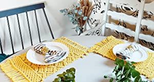 Yellow Placemats - Macrame Placemats Boho - Small Dining Table Runner 13
