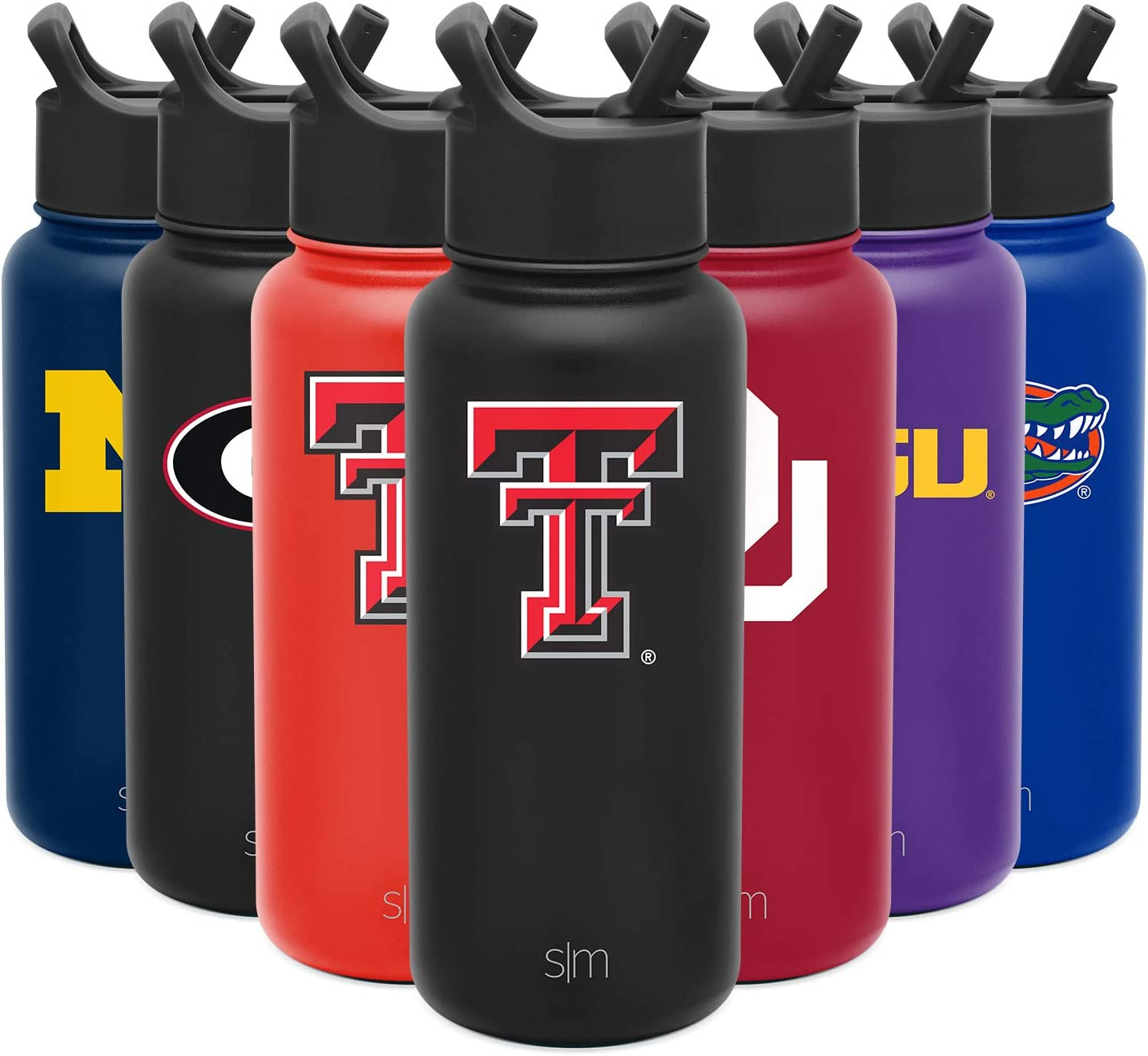 Simple Modern 32oz Summit Water Bottle with Straw Lid Gifts for Men Women Dads Texas Tech Red Raiders Leakproof Travel Tumbler Stainless Steel