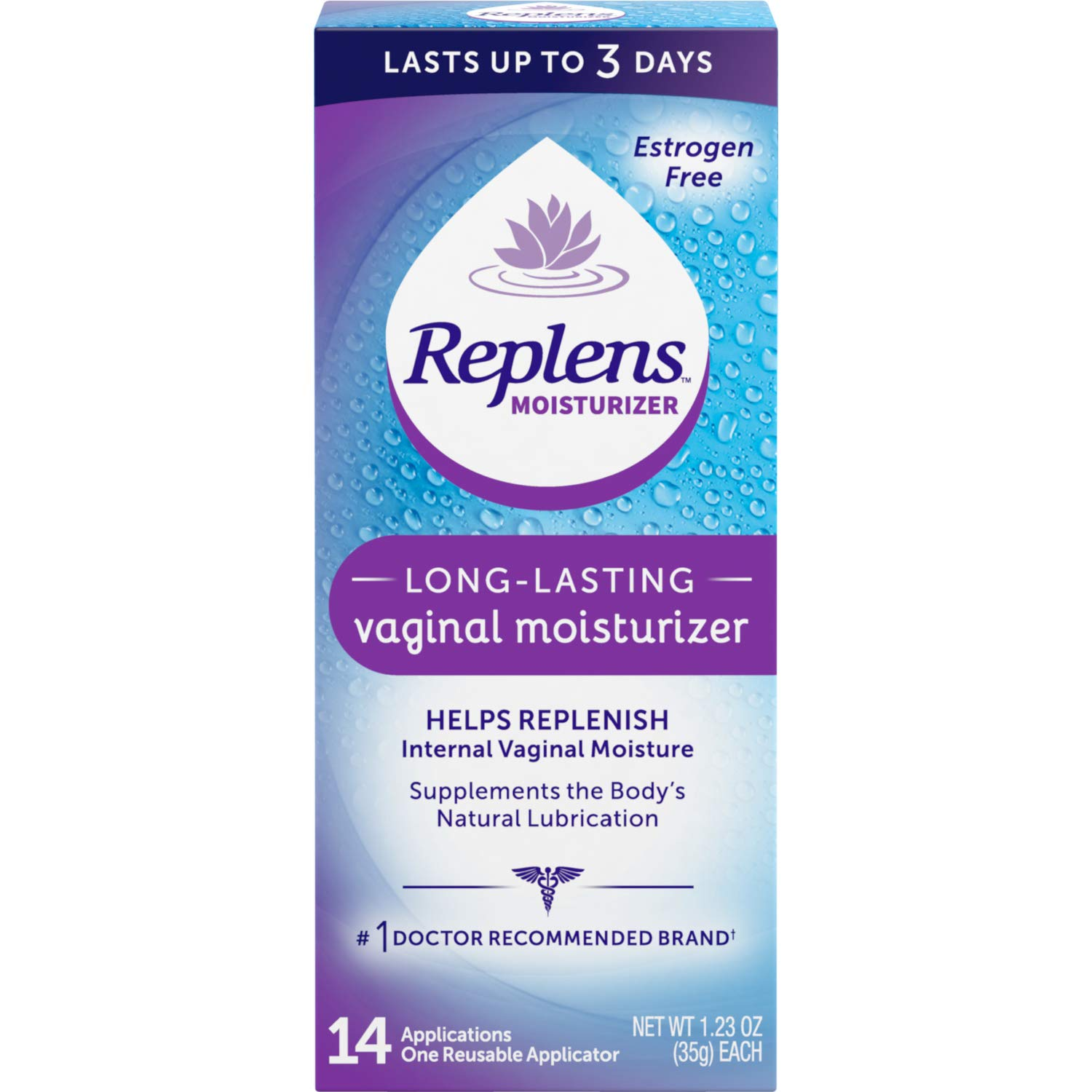 Replens Replens Long Lasting Vaginal Moisturizer, 14 Applications 1.23 oz (Pack of 2) by Replens