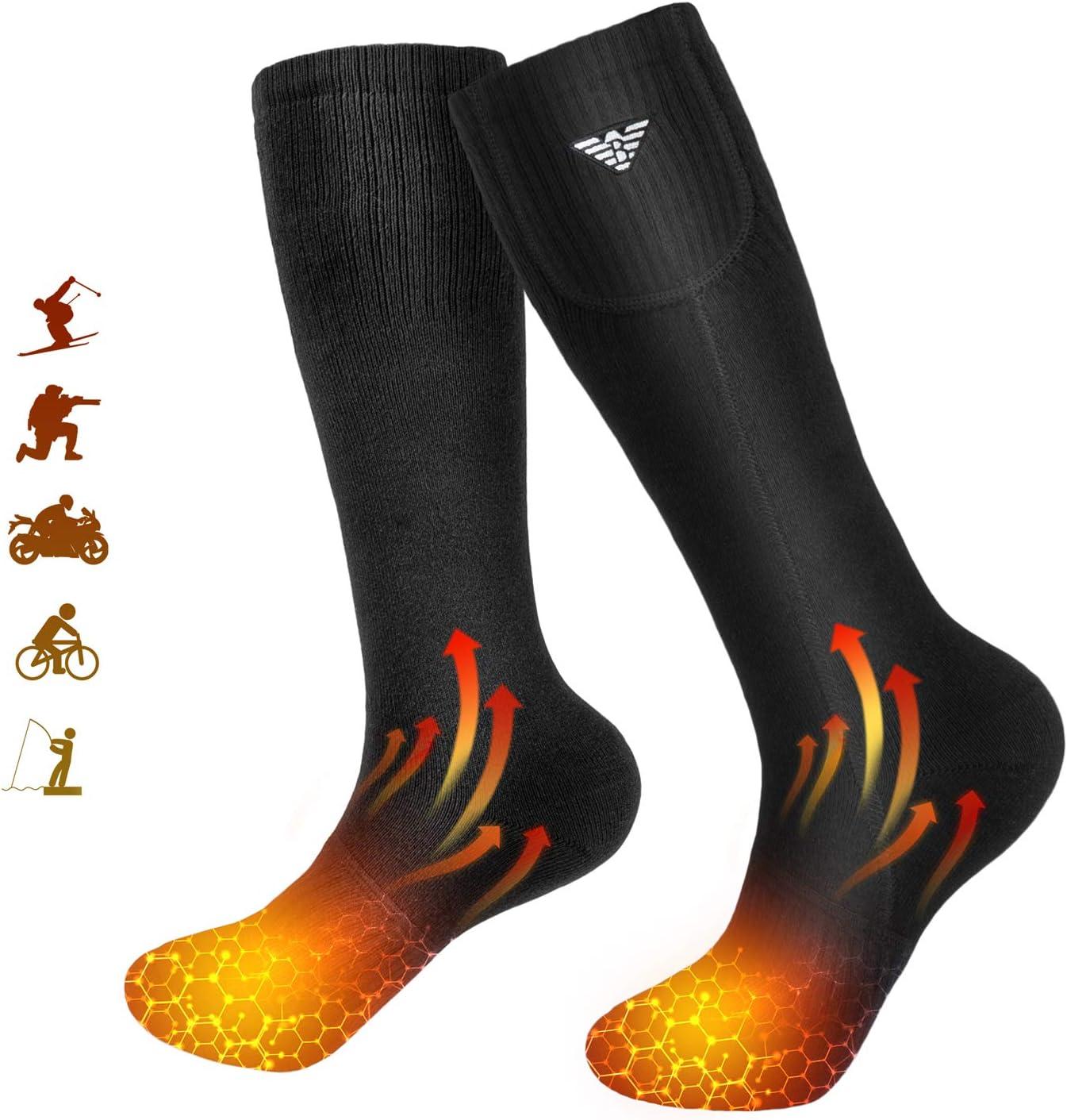 Calcetines Calefactables Hombres y Mujeres,Calcetines Calefactables El/éctricos,Calcetines A Bater/ía para Acampar//Pescar//Andar En Bicicleta//Motociclismo//Esquiar