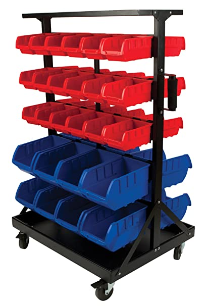 Performance Tool W5183 52pc Double Sided Rolling Storage Bin Rack Organizer  For Nuts, Bolts,