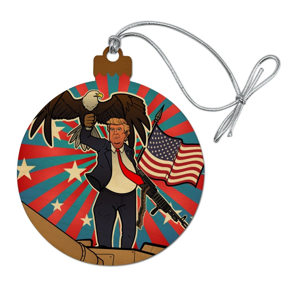 GRAPHICS & MORE Patriotic Donald Trump With Eagle American Flag Gun Wood Christmas Tree Holiday Ornament