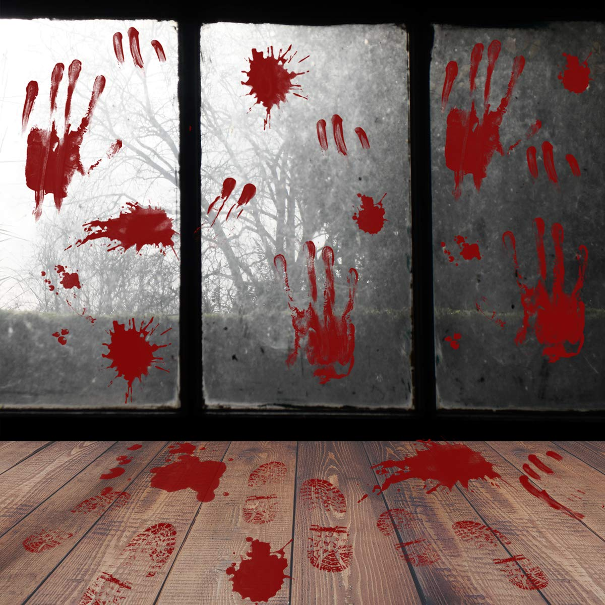Halloween Bloody Window Wall Floor Clings Decal Sticker - 48 PCS Footprint Handprint Stickers Supplies for Vampire Zombie Party Haunted House Bathroom Window Decorations Shine-Home