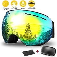 WOTEK Gafas de esquí, Antivaho, Lentes Dobles protección