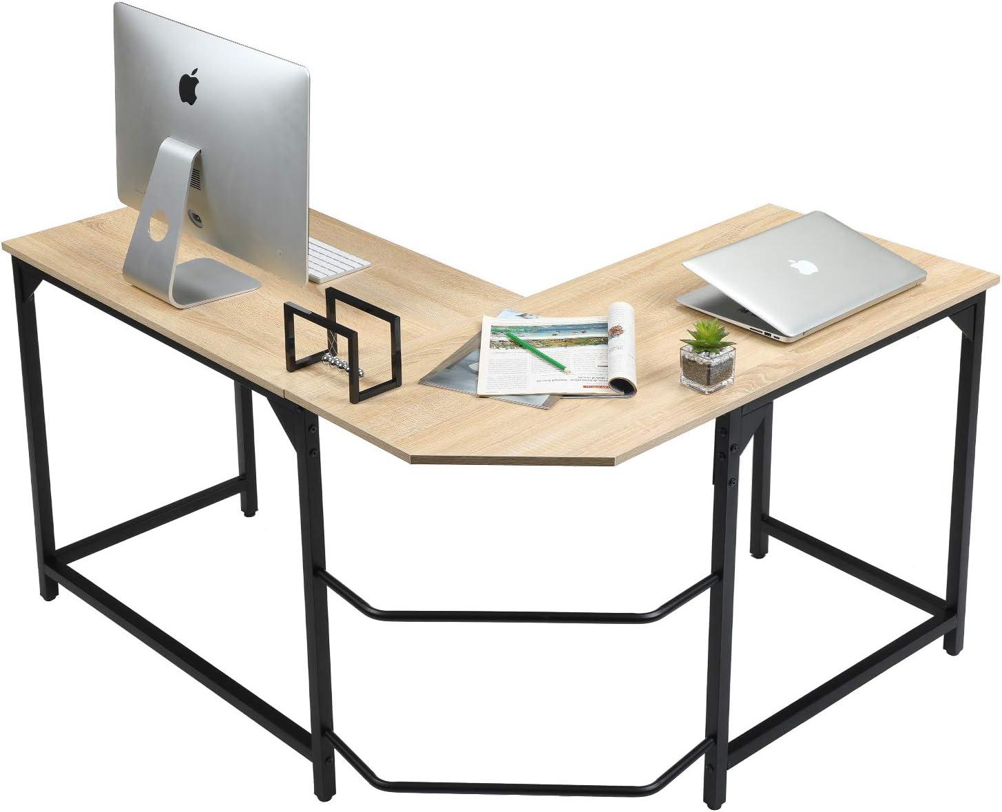 Aingoo L Mesa Escritorio de Computadora, Mesa Ordenador Gran Escritorio de Esquina Moderna L Escritorio para Oficina (Beige): Amazon.es: Hogar