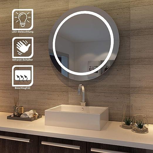 sunnyshowers LED Bad Spiegel 84cm wandspiegel rund Badezimmer Lichtspiegel  Badspiegel LED Beleuchtung, Sensorschalter, kaltweiß