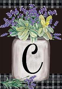Briarwood Lane Farmhouse Monogram Letter C Garden Flag Floral 12.5