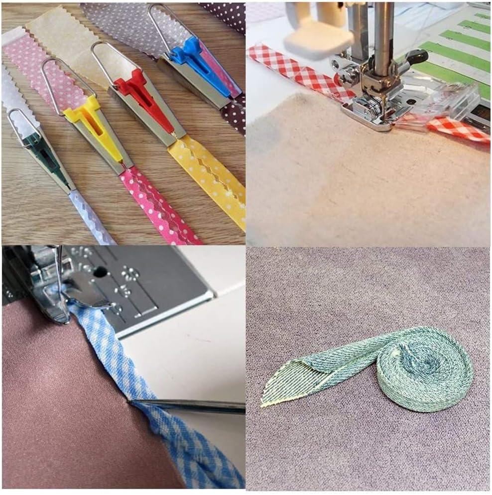 BKpearl 5 Pcs Sewing Bias Tape Makers 5 Sizes Fabri Bias Tape Maker Set DIY Quilting Tools Kits 6mm 9mm 12mm 18mm 25mm