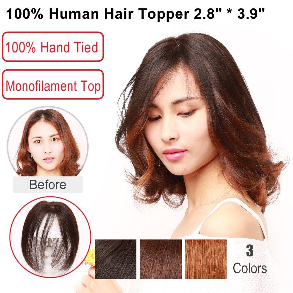 Igennki 100% Human Hair Topper Hand Tied Mono Top Hair Pieces Clip in Hair Wiglets for Women Thinning Hair,Hair Loss (2.8''3.9'', LB Dark Brown)