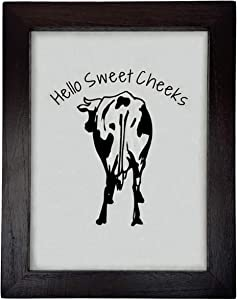Cow Decor - Funny Bathroom Signs - Hello Sweet Cheeks Bathroom Decor Sign - Restroom Funny Sign - Farmhouse Wall Decor - Cow Kitchen Decor - Cow Bathroom Decor - Cow Picture