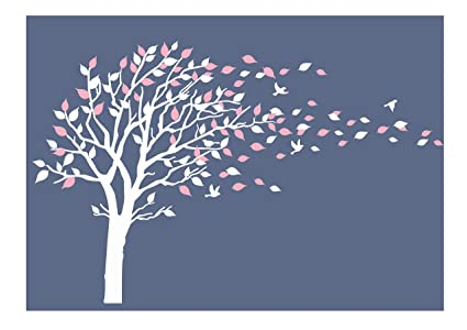 LUCKKYY Tree Blowing In The Wind Tree Wall Decals Wall Sticker Vinyl Art  Kids Rooms Teen