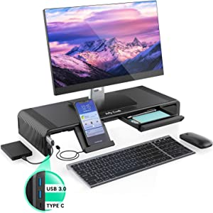 Monitor Stand Riser with Hub, Jelly Comb Adjustable Computer Monitor Stand with USB 3.0 Ports and Type C Port, Desktop Stand Support Fast Charging and Transfer Data
