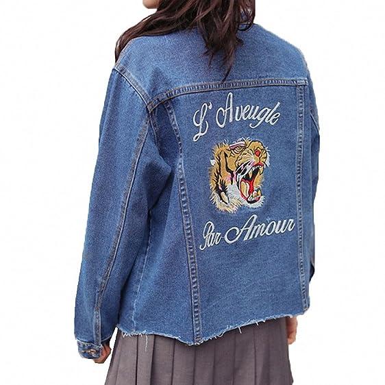 Vintage Embroidery Tiger Animal Denim Jacket Coats Women Round Neck Long Sleeve Jackets Female Casual Loose