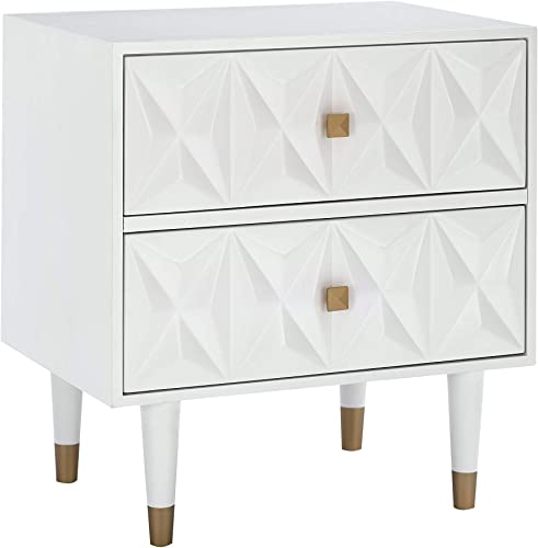Linon Home D cor Sheerah Two Drawer Geo Texture White Nightstand