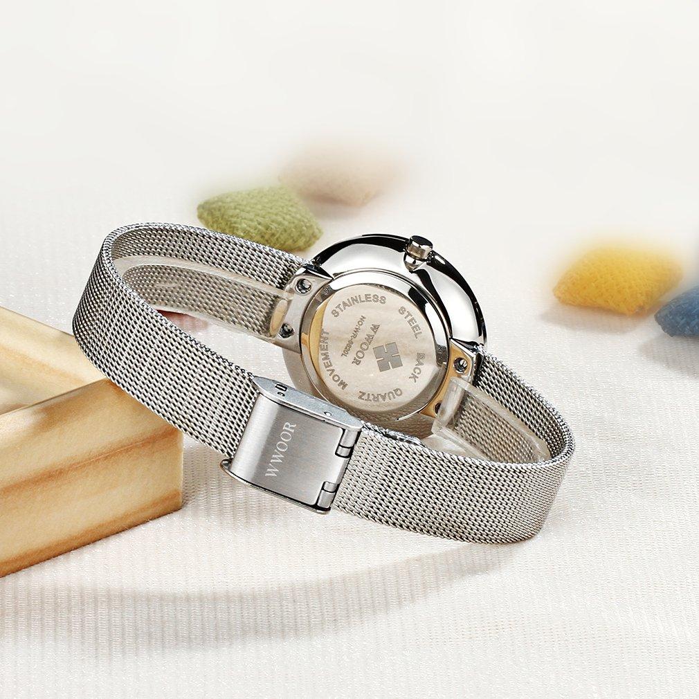Amazon.com: Wwoor Ladies Simple Casual Quartz Watch 2 Pointer Steel Mesh Strap Ultra-thin Watch WR-8820 (pink): wwoor: Watches