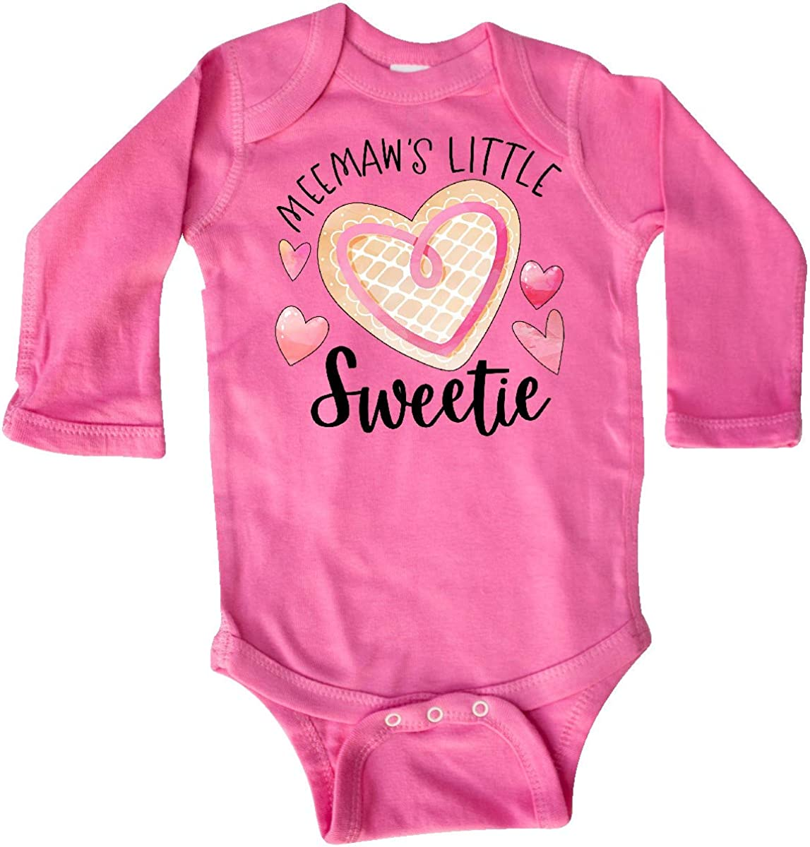 inktastic Meemaws Little Sweetie with Heart Cookie Long Sleeve Creeper