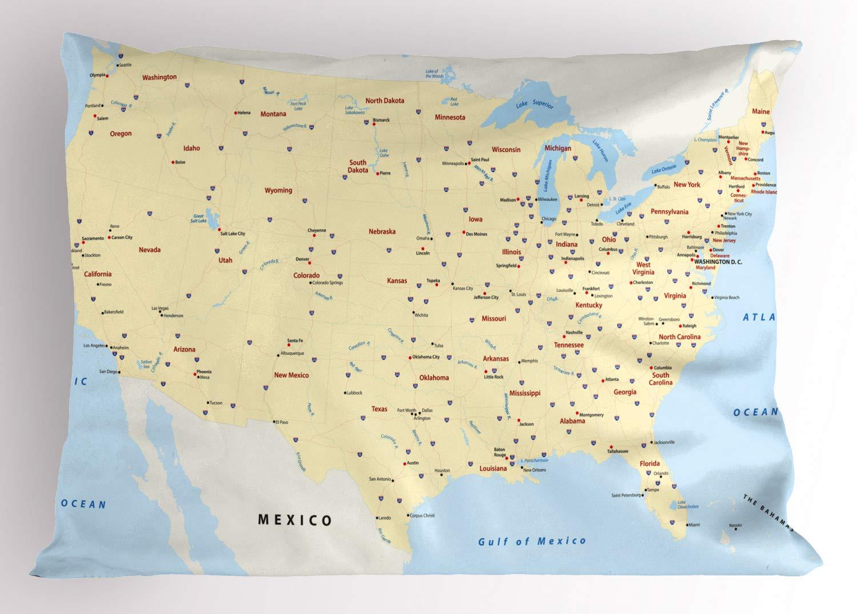 Amazon.com: Ambesonne Map Pillow Sham, United States ...