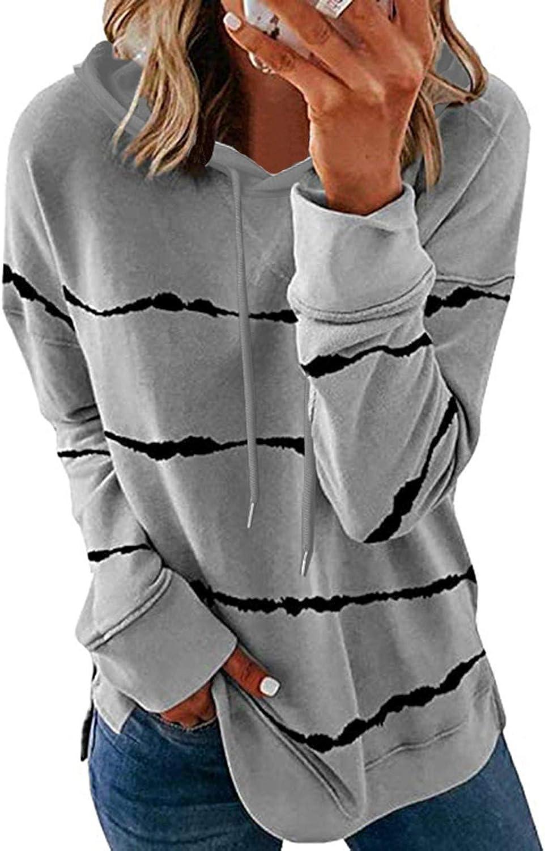 Womens Christmas Tops Crewneck Hooded Sweatshirt Striped Printed Loose Soft Long Sleeve Pullover Shirts
