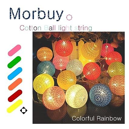 Guirnalda De Luces Morbuy 18m Cadena Di Luces Decorativas Batería Algodón Bolas Luces Bebe Casa Dormitorio Decoración Boda Fiesta De Cumpleaños