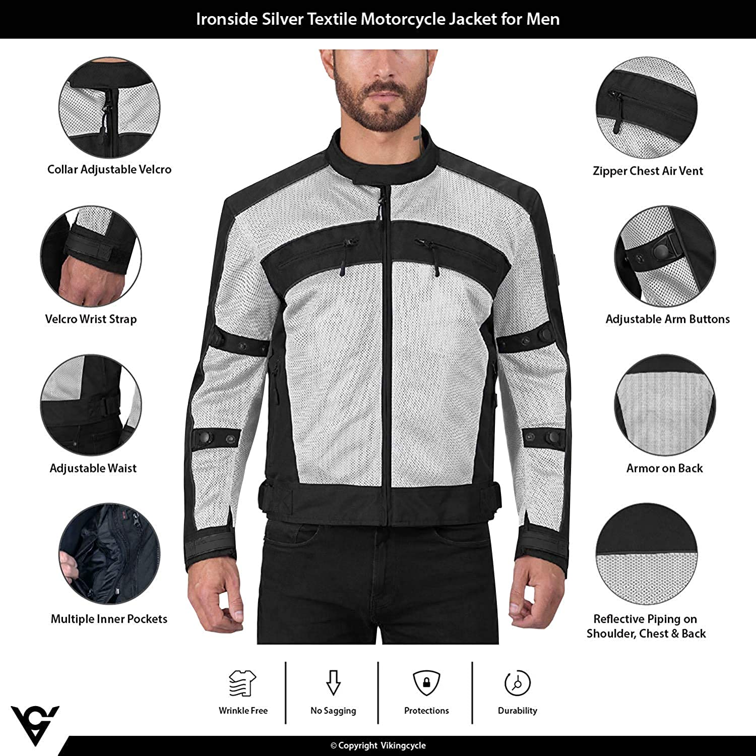 Adjustable Breathable Armor for Bikers Viking Cycle Ironside Textile Mesh Motorcycle Jacket for Men