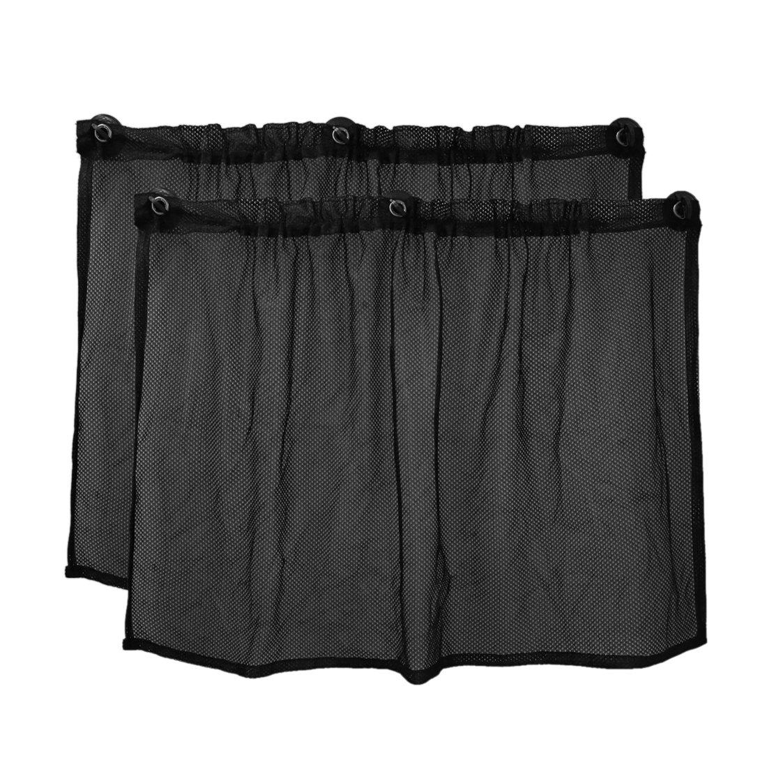 uxcell 2pcs Black Car Mesh Sun Shade Suction Cup Side Window Curtain 75 x 50cm