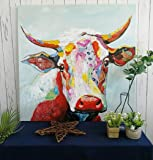 Handmade Colorful Cow Art Animals Pictures Graffiti Texture Palette Knife 3D Oil Paintings Canvas Wall Art for Bedroom Living room Wall Decor Contemporary Art Work Wooden Framed