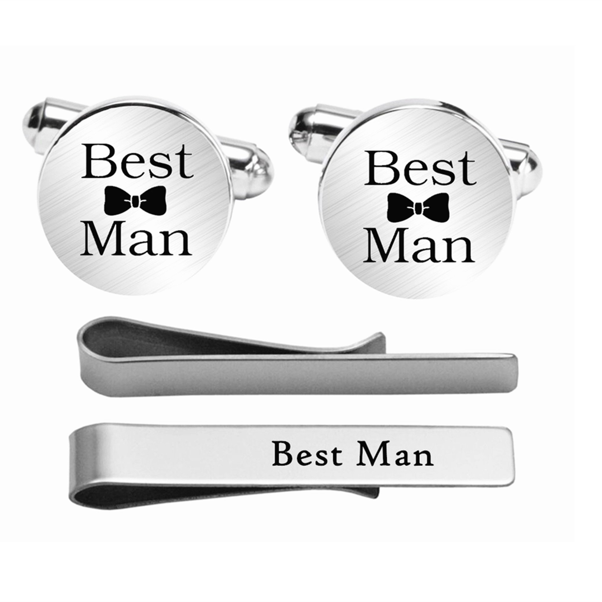 Kooer Custom Personalized Wedding Engraved Cuff Links Tie Clip Set Engrave Wedding Cufflinks Jewelry Gift (Brother of the bride set)