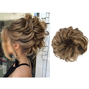 Amazon.com   SARLA Synthetic Hair Bun Scrunchy Wavy Curly Messy Donut  Chignons Hair Scrunchies Extensions Hair Piece Wrap Ponytail Hair Tail Updo Fake  Hair ... 3be4d45a7