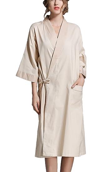 Asskyus Unisex Pure Cotton Sleep Robe Kimono Gown 4c037bbbc