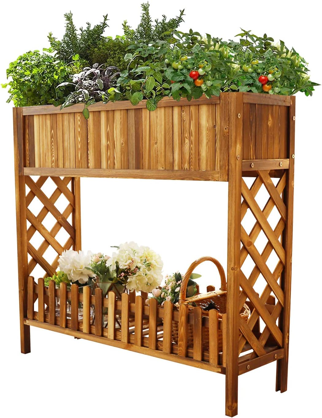 Raised Garden Bed, ToteBox Wood Planter Box, Elevated Raised Bed Garden Kit with Legs for Flower Herb Vegetables Growing in Outdoor Indoor Patio Balcony Garden, 37.4