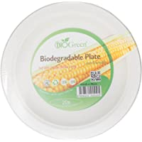 "Biogreen Disposable 9"" Plate, Milky White (Pack of 20)"