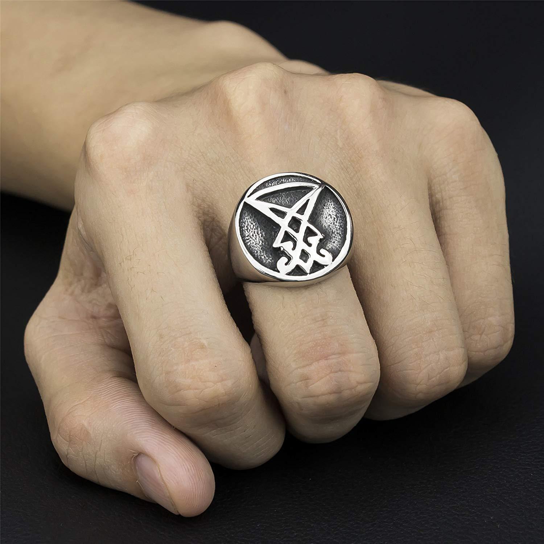 YEBENI Bijoux en Acier Inoxydable Sigil de Lucifer Sceau de Satan Baphomet Anneau pour Les Anneaux Hommes