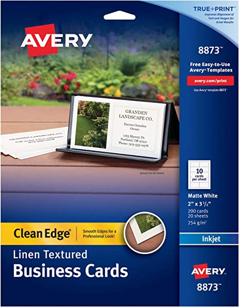 Inkjet Printers 8877 White Heavyweight Avery Printable Business Cards 2 x 3.5 Clean Edge 400 Cards