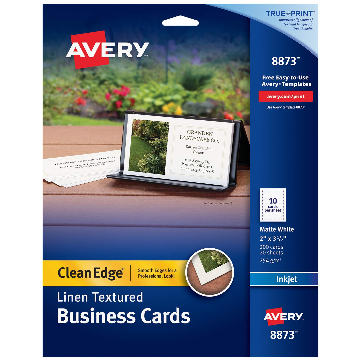Avery Printable Business Cards, Inkjet Printers, 200 Cards, 2 x 3.5, Clean Edge, Heavyweight, Linen Textured (8873)