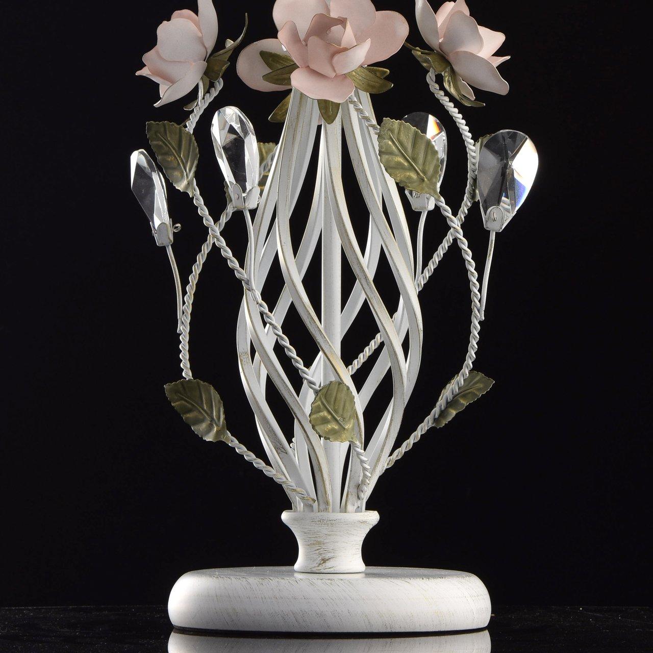 MW-Light 421012508 Florentiner Kerzen Kronleuchter Wei/ß Metall Gr/ün Keramik Blumen Bl/ätter mit Kristall 8 Flammig E14 x 40W