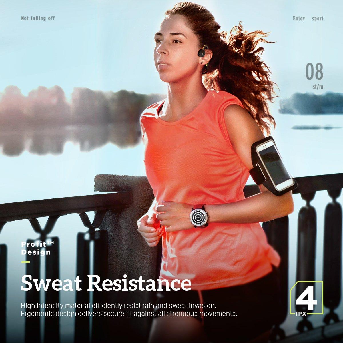Auriculares de Conducción Ósea Bluetooth 4.1 Inalámbrico para Correr Deportes Oído Abierto IPX 4 Impermeable Prueba de Sudor con Micrófono (Verde Neón)