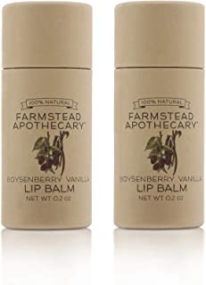 product image for Farmstead Apothecary 100% Natural Lip Balm with Organic Beeswax, Organic Shea Butter & Organic Coconut Oil, Boysenberry Vanilla 0.2oz (Pack of 2)