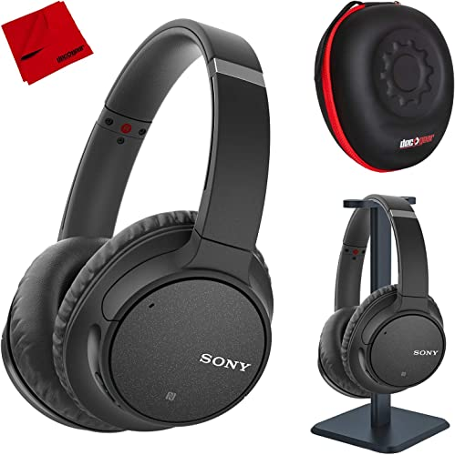 Sony WH-CH700N Wireless Noise Canceling Headphones with Case and Stand – Black