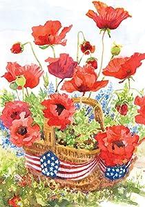 Toland Home Garden Patriotic Poppies 28 x 40 Inch Decorative Summer Poppy Flower Basket America USA House Flag