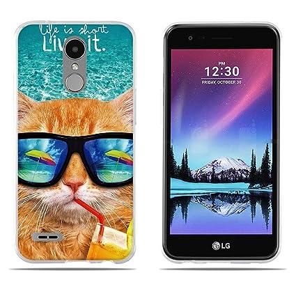 FUBAODA Funda Carcasa para LG K10 2017/LV5, Carcasa de Silicona Transparente TPU, Dibujo con Estilo[Beber Gato] Carcasa Protectora de Goma de Altisima ...