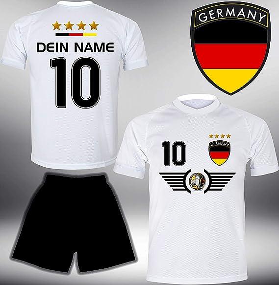 ElevenSports Deutschland Trikot Set 2018 mit Hose GRATIS Wunschname + Nummer im EM WM Weiss Typ #DE5th - Geschenke für Kinder