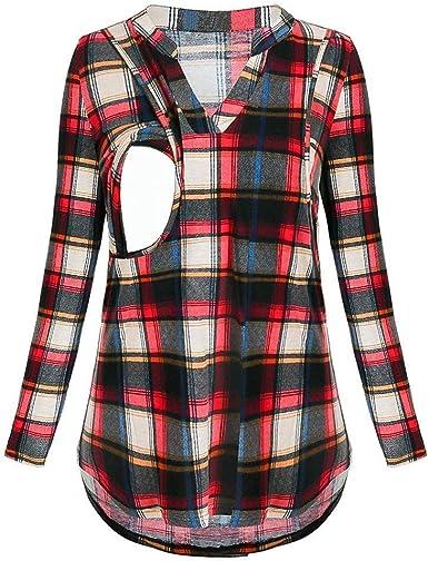 Señoras De Tela Escocesa De Maternidad De Larga Vintage Camiseta Manga De Maternidad Túnica Camisas De Maternidad Superior De Enfermería Embarazo Elegante Primavera Blusas Tops Moda Clásica Holgada: Amazon.es: Ropa y accesorios