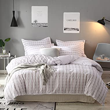 Merryfeel Seersucker 100% Cotton Yarn Dyed Duvet Cover Set - King Natural