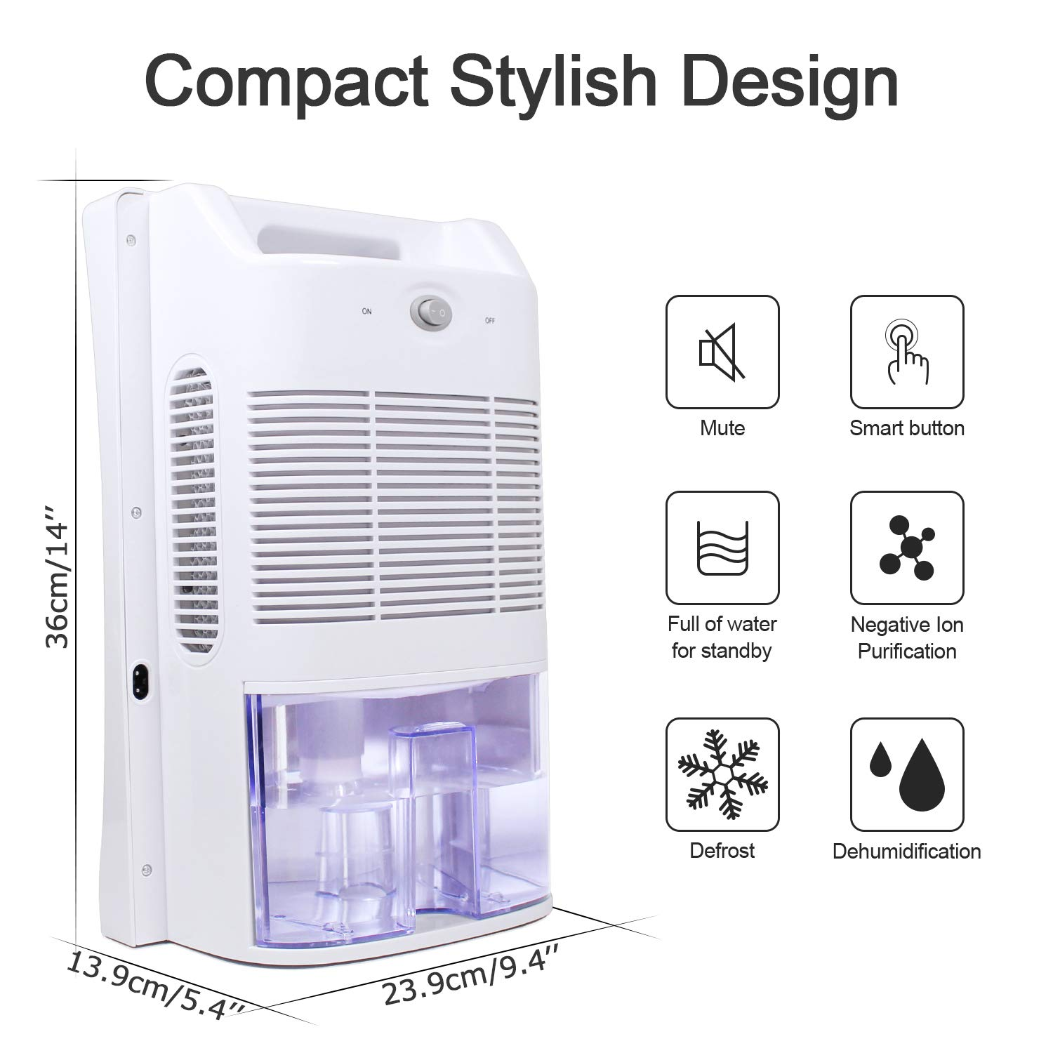LATITOP Dehumidifier with 2000ml Water Tank, Large Capacity Air Purifier Auto-off Silent Operation for Damp Air, Moisture, Dust, Quiet Auto Off for Bedroom Large Room Basement (430 sq ft)