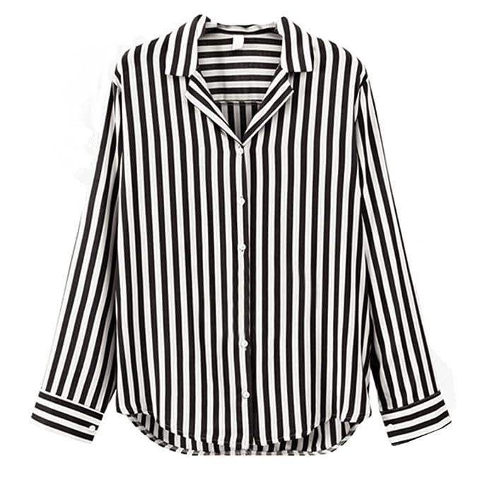 Moda Camiseta para Mujer Collar Abatible Blusa a Rayas con Botones Manga Larga T-Shirt