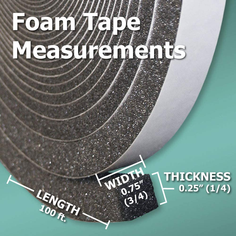 1//4 Thick x 3//4 Wide x 100 ft Box of 8 Rolls Polyether Urethane Foam Tape