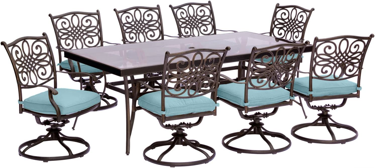 Hanover TRADDN9PCSWG-BLU Traditions 9 Piece Set in Blue with Extra Large Glass-Top Dining Table Outdoor Furniture